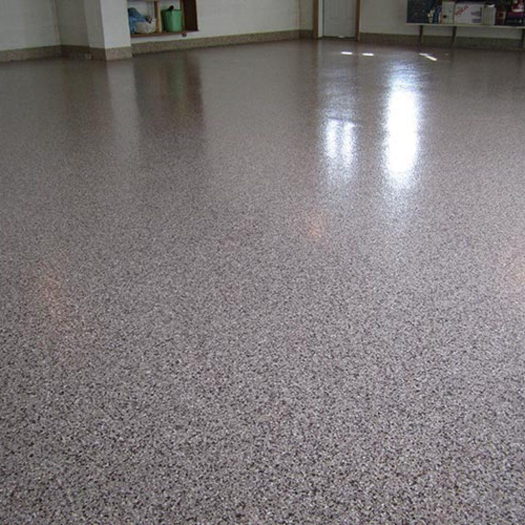garage floor coating application view from the floor