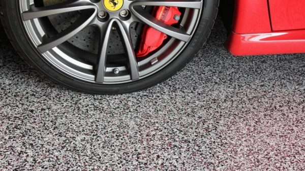 Floor coating view with Ferrari wheel